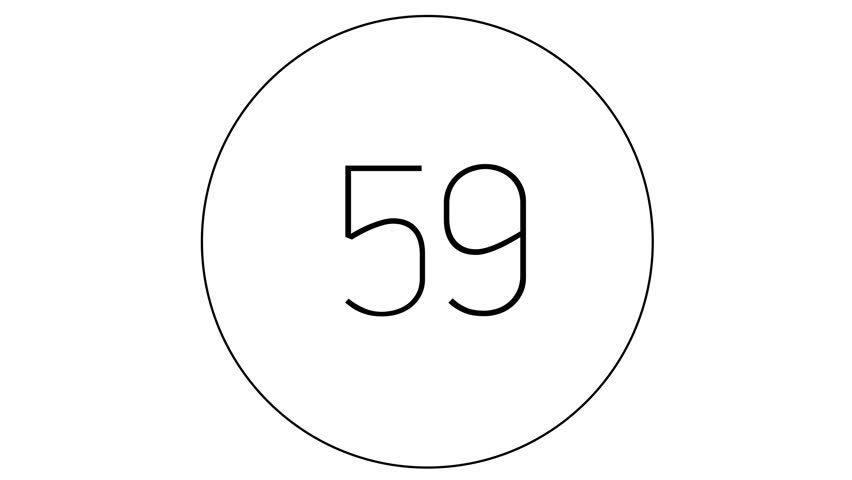 4K Countdown one minute animation from 60 to 0 seconds. Modern flat design with animation in white background