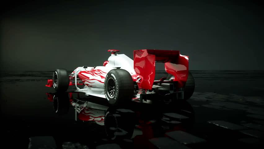 Race sport car in dark studio. realistic 4K animation. | Shutterstock HD Video #25925966
