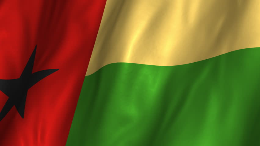 A beautiful satin finish looping flag animation of Guinea-Bissau.    A fully digital rendering using the official flag design in a waving, full frame composition.  Animation loops at 10 seconds.