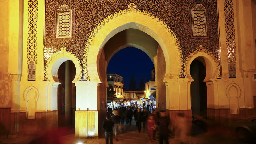 FEZ, MOROCCO   CIRCA MAY 2011: People At The Entrance To The Medina,