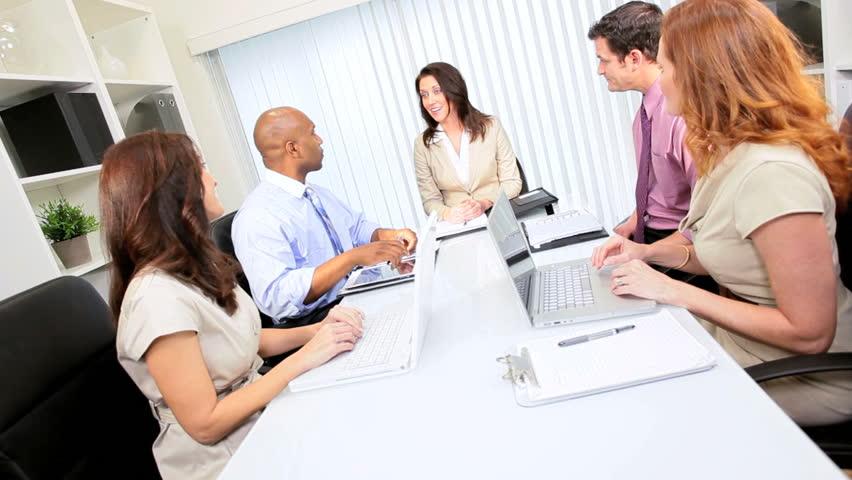 Male African American Advertising Executive Boardroom Team Meeting ...