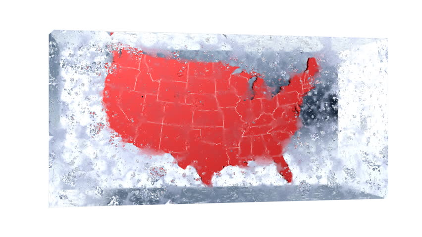 Map of the US frozen in a block of ice.