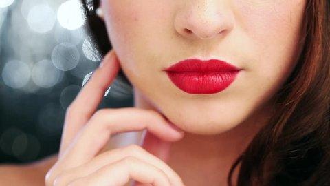Macro closeup of sexy woman flirting seductive