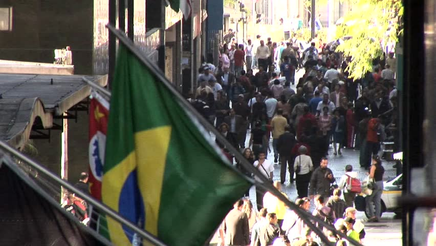 SAO PAULO, BRAZIL - CIRCA 2010 : Aerial View of People in Centro de Sao Paulo, Brazil