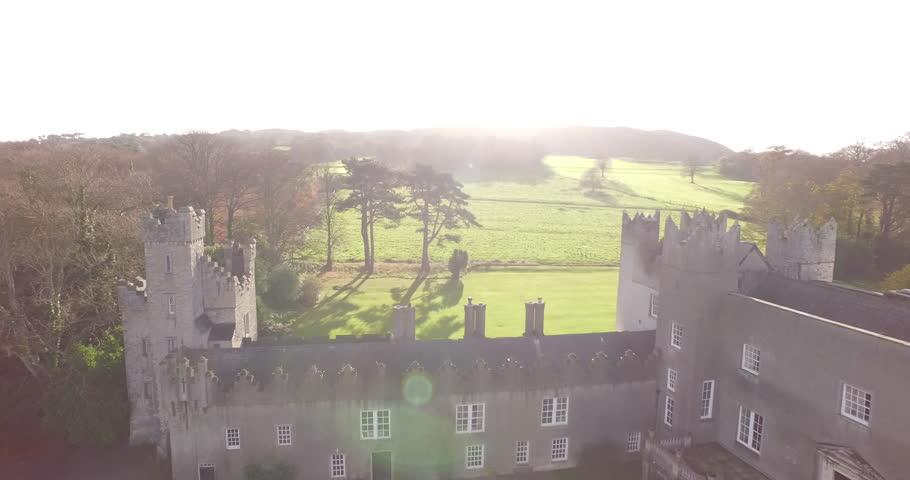 Drone shot over castle in Dublin, Ireland. | Shutterstock HD Video #26081636