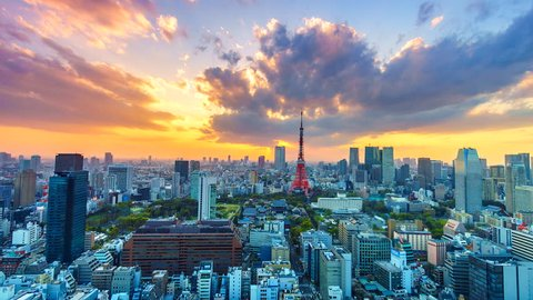 4K, Time lapse view sunset at Tokyo city with Tokyo Tower in japan asia Is a famous place