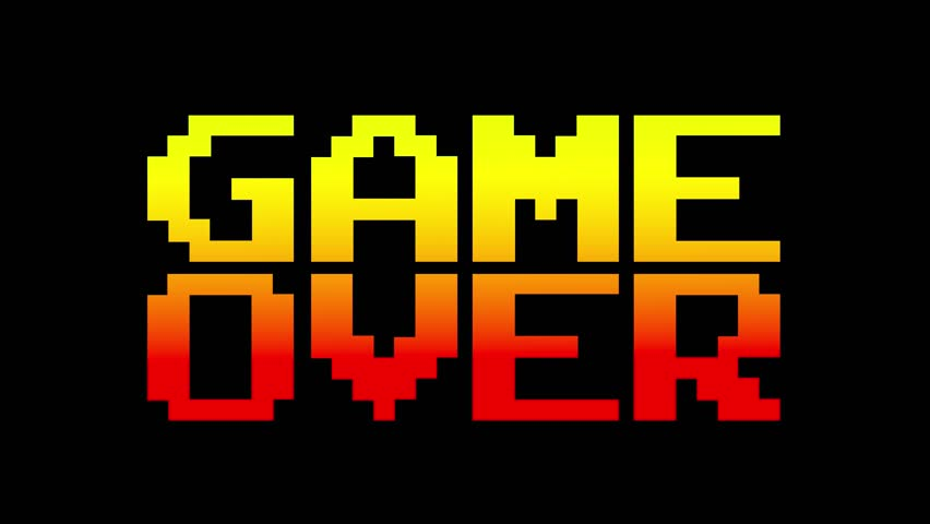 A funky colorful 4k game over screen animation, letters falling towards the center. 8 bit retro style, red and yellow.