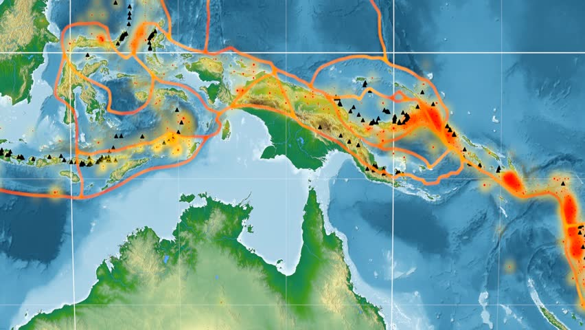 Timor tectonic plate featured & animated against the global physical map in the Kavrayskiy VII projection. Tectonic plates borders (Peter Bird's division), earthquakes, volcanoes