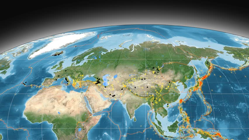 Major Earthquakes On The Global Satellite Map In The - World satellite map 2017