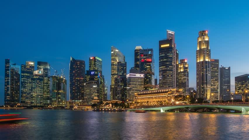 Singapore City Skyline Day To Night Timelapse 4K Time Lapse