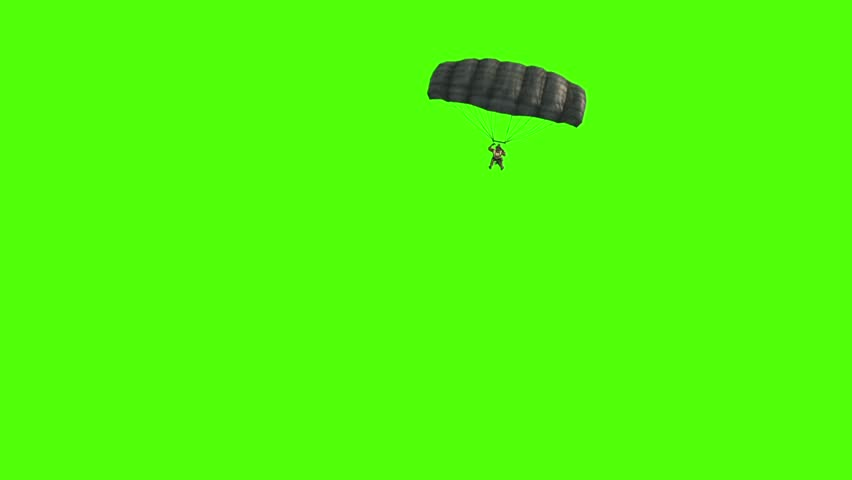 Military Parachutist open Parachute Top Green Screen 3D Rendering Animation