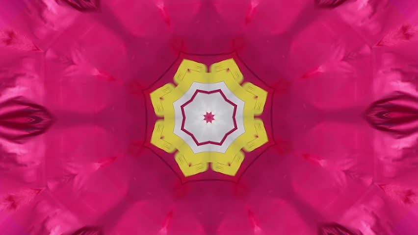 Design Kaleidoscopic fractal made with cloth waving flag in colors pink purple, yellow and sky blue