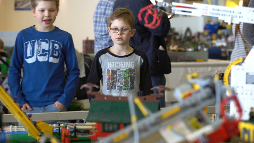 HELSINKI, FINLAND - APRIL 22, 2017: Automatic LEGO line at toy fair for kids and adults. The annual fair Model Expo in Expo center Messukeskus.