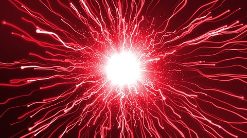 Two particles fly at each other and explode