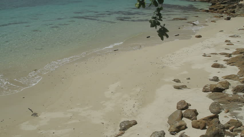 White sandy beach of a tropical island, Las Perlas archipelago, Panama, central America