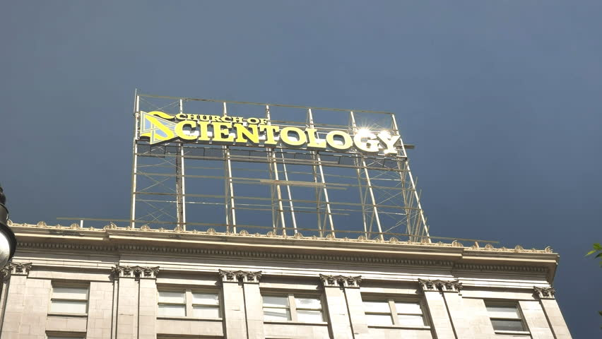 LOS ANGELES, USA MARCH 19, 2017:zoom in shot of a church of scientology sign at los angeles in california, usa