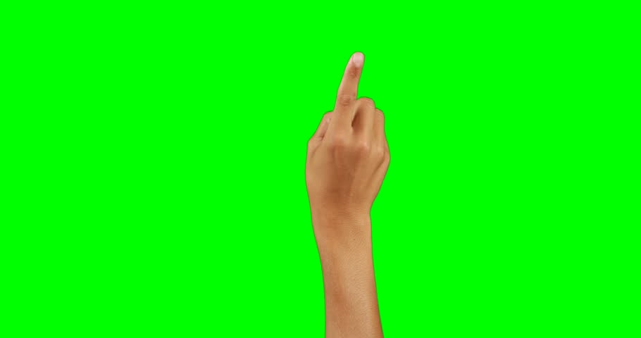 Hand pretending to use an invisible screen against chroma key background | Shutterstock HD Video #26261363