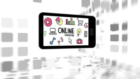 Mobile phone with online marketing and business icons against digital background