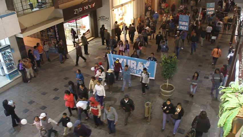 AREQUIPA, PERU - MAY 26, 2015: Participants of anti-mining protest in Arequipa, Peru