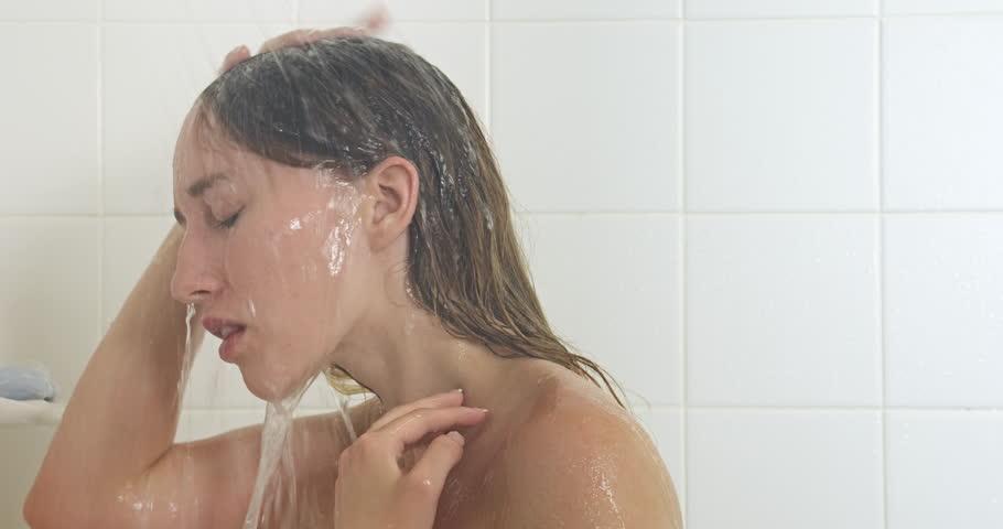 Woman Showering Bathroom