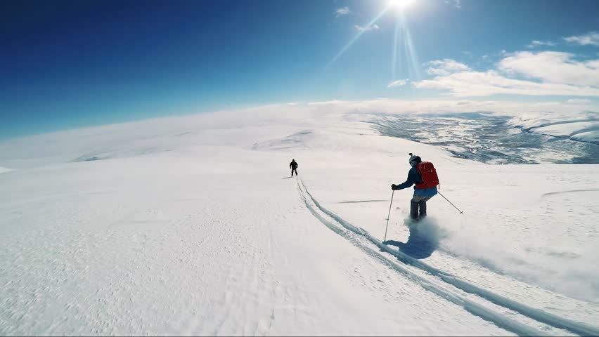 Man skier skiing down mountain with friends - sunny day - first person view | Shutterstock HD Video #26303906