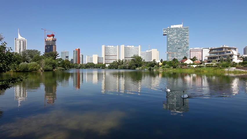 Skyline Uno City Vienna (Austria) in summer at the Kaiserwasser