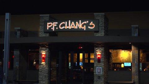 PF Chang Chinese restaurant eatery customer entrance - Peabody, Massachusetts USA - December 12, 2016