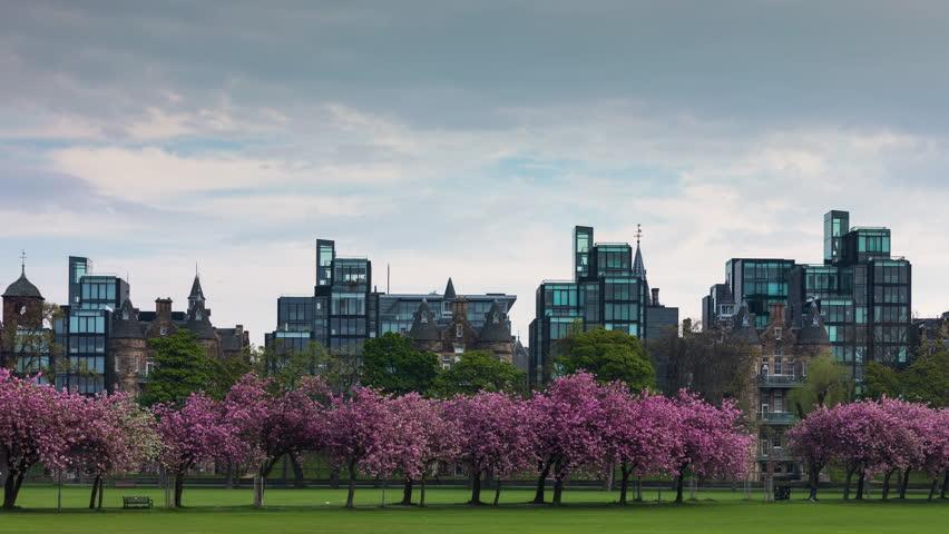 Timelapse of Edinburgh Skyline from the Meadows in Spring