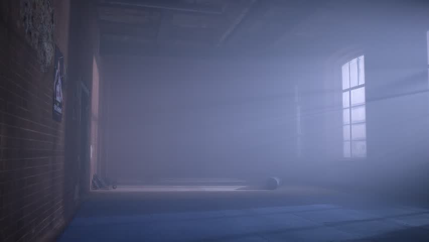 gym in the basement. Interior of a boxing hall in loft style. Empty wrestling room. Grunge gym Interior with Equipment. Interior of a fitness hall with punching bags