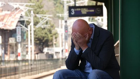 Depressed Man Stay Sad Looking Concerned Wait Train Troubled and Disappointed (Ultra High Definition, UltraHD, Ultra HD, UHD, 4K, 3840x2160)