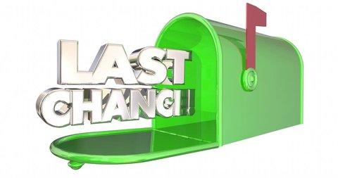 Last Chance Mailbox Notice Warning Deadline 3d Animation
