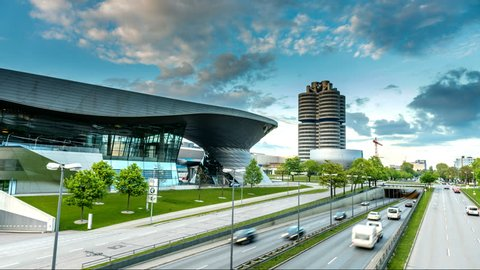 MUNICH, GERMANY - MAI 3, 2017: Hyperlapse video of BMW World (BMW Welt) near the Olympicpark in Munich, Germany. Timelapse footage in 4K.