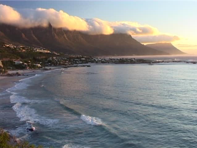 The spectacular Clifton Beach and Cape Coastline at sunset. Clifton is an affluent suburb of Cape Town with the most expensive real estate in South Africa