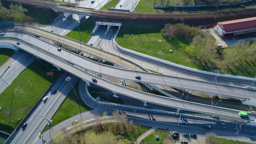 Aerial View Of A Freeway Stock Footage Video 100 Royalty Free