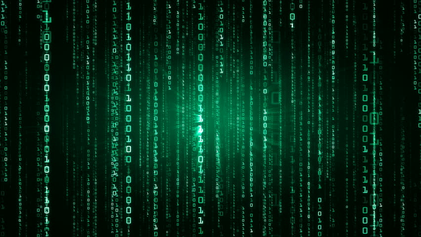 The Matrix style binary code. The camera moves through the falling numbers. Available in multiple color options. Green version. Seamless loop. 4K