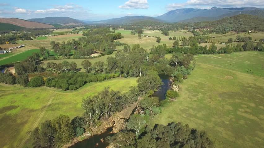 Backward flight over small river in Australian countryside   Shutterstock HD Video #26524406