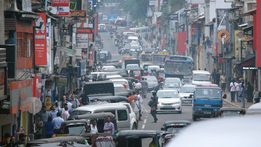 KANDY. SRI LANKA - CIRCA NOV 2016: Typical. heavy traffic along a downtown street in Kandy. UltraHD stock footage #26529326