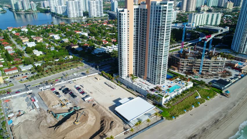 Construction on the beach in Sunny Isles | Shutterstock HD Video #26532596