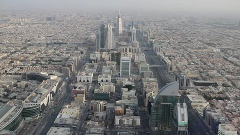 RIYADH, SAUDI ARABIA - OCTOBER 15, 2015. View on the city of Riyadh, its skyscrapers and houses from observation deck of Al-Mamlyaka Kingdom Tower
