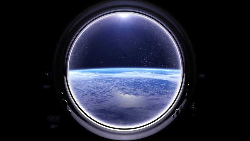Flight Of The Space Station Above The Earth. International space station is orbiting the Earth. Earth as seen through round window of ISS. Realistic atmosphere. Starry sky. Stars. 4K.