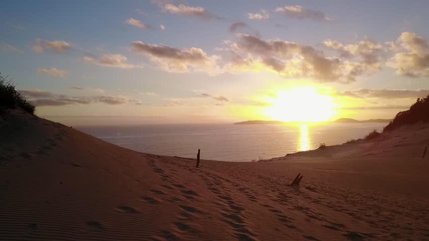 Sunrise Over Rainbow Beach   Drone Aerial Footage   Shutterstock HD Video #26570096