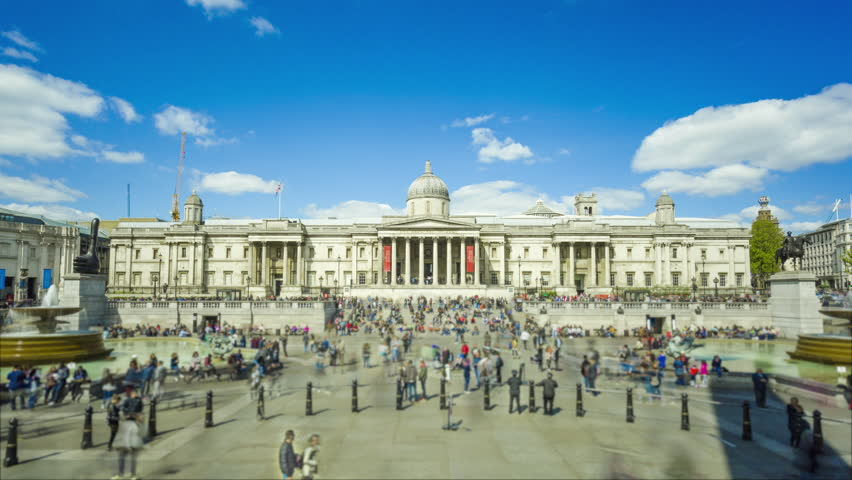 National Gallery, London, crowd of people, time-lapse Zoom Out | Shutterstock HD Video #26606036