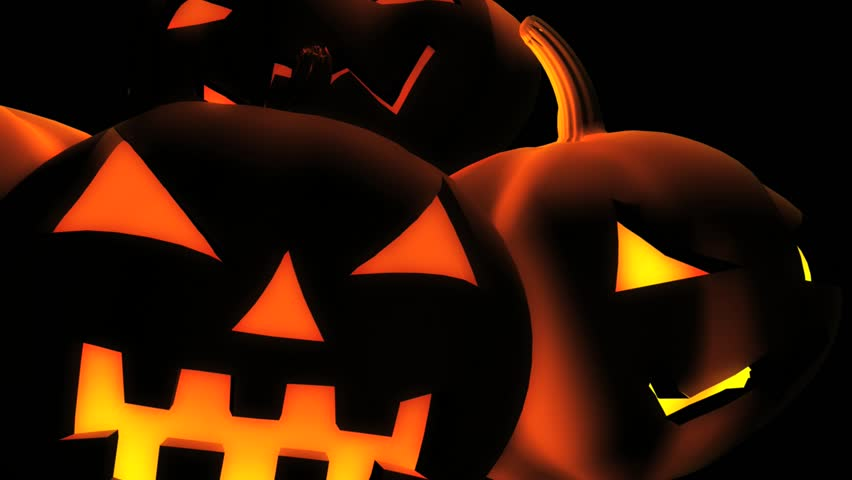 abstract cgi motion graphics and animated background of scary halloween pumpkins bouncing around on a black - Halloween Background Video