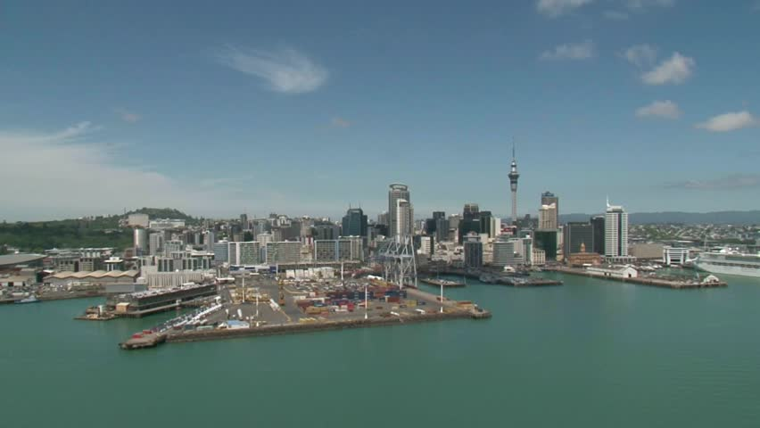Auckland, New Zealand, December 2011. Scenic helicopter flight over the City of Auckland with its port and Harbour.