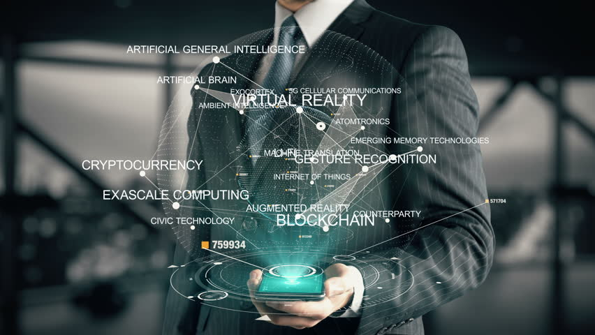 Businessman with Cryptocurrency hologram concept   Shutterstock HD Video #26644876
