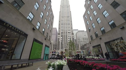 New York, USA - April 13 2017: The Rockefeller Center Channel Gardens day view. Plant installations with seasonal variety between 5th Avenue and Rockefeller Piazza, before The Rockefeller center.