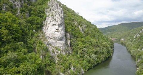 Decebal's Head carved in rock, Danube Gorges, Romania