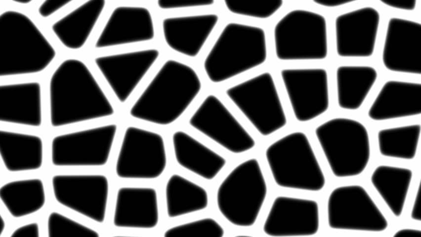 Abstract cgi motion graphics and animated background of black and white organic  shapes moving and morphing