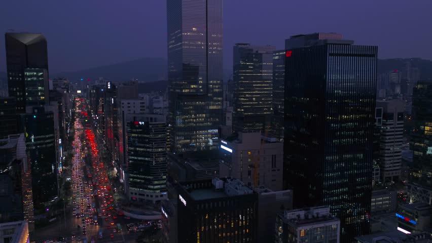 Aerial Korea Seoul April 2017 Gangnam Night | Shutterstock HD Video #26698096