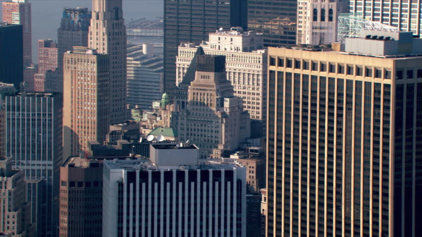 Aerial view across New York City beyond Manhattan skyline. Shot in 2003.